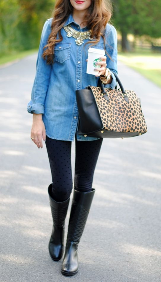 Chambray top? Check. Statement necklace? Check. Riding boots? Check. All you need are a pair of simple black leggings to complete this fabulous fall look!