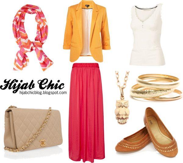 """Hijab style inspiration: orange blazer"" by vanillagurl88 on Polyvore"