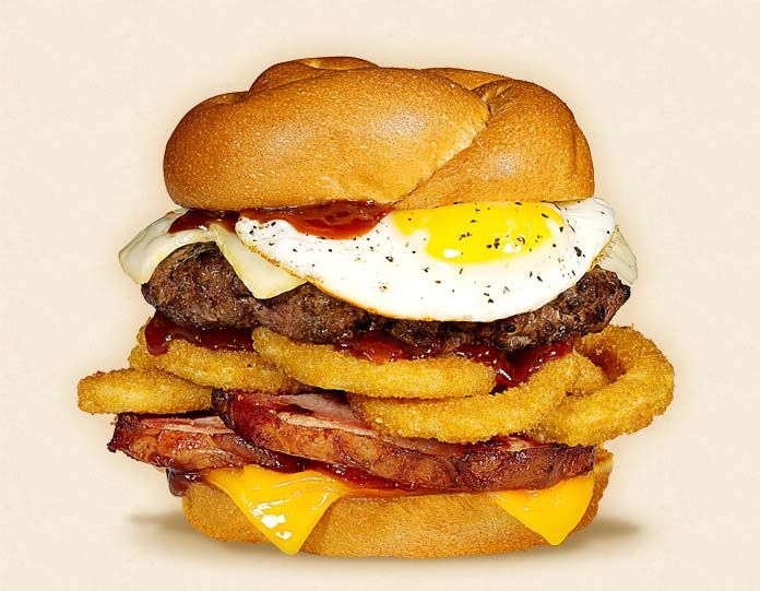 The Highwayman:  Wisconsin Brick and Cheddar Cheeseburger Recipe.  Other ingredients:  beef patty, fried egg, BBQ sauce, ham, onion rings, and toasted knot bun.   - Wisconsin Milk Marketing Board