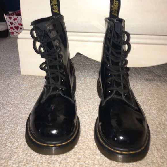 Doc Martens black patent leather Slightly worn black doc martens, size 10, little to no visible scuff marks Dr. Martens Shoes Combat & Moto Boots