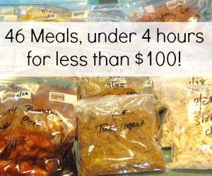 4 hours, 46 meals, 95 dollars quick prep meals for freezer http://www.aturtleslifeforme.com/2011/06/freezer-meals-on-cheap.html