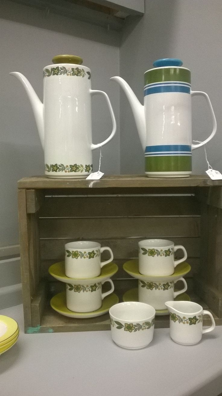 Marvellous Meakin a coffee pot set and a wonderful striped coffee pot in springtime colours :)  www.whittakergray.co.uk
