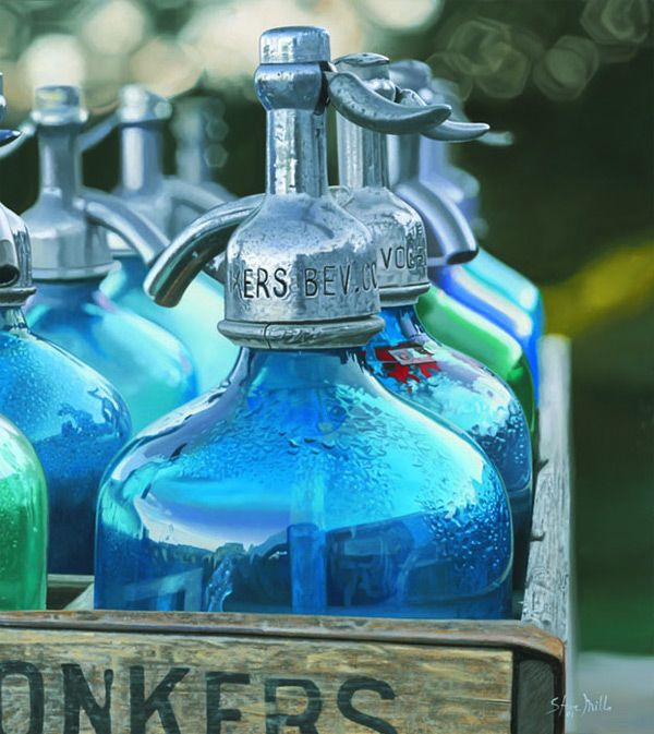 Jars in a Crate. Even the reflection in the bottle is painted in great detail. Hyper Realistic Paintings by Steve Mills