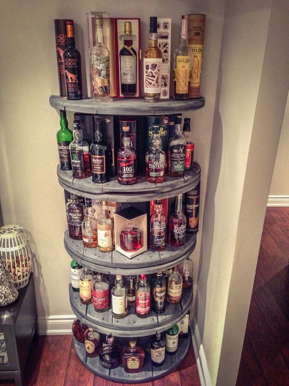 Wire Spool Shelf for liquor in your man cave. Plus 15 other spool ideas for arou…