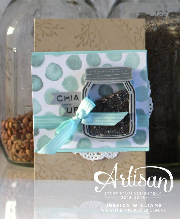 Fun in the pantry! Gel & Shaker cards featuring Jar of Love by Stampin' Up!