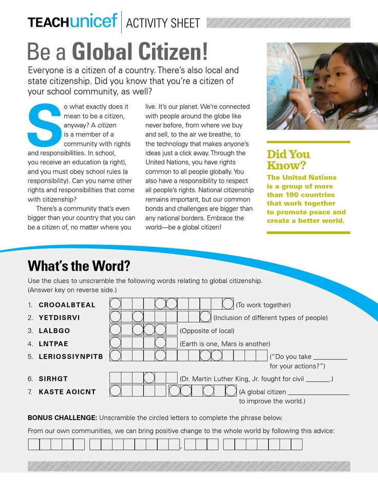 This Activity Sheet for students grades 3-5 introduces the concept of global citizenship.