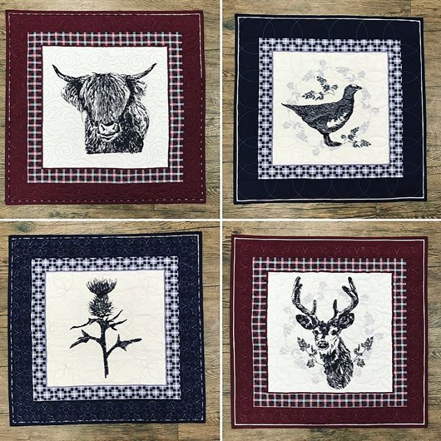 These Gorgeous Scottish Themed Panels Look Great As Wall Hangings Or Cushions Scotland Quilting Highlandcow Thi Panel Quilts Fabric Art Embroidery Fabric