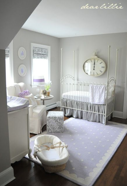 A soothing nursery. One could easily change the lavender color into something that is more personally suitable.