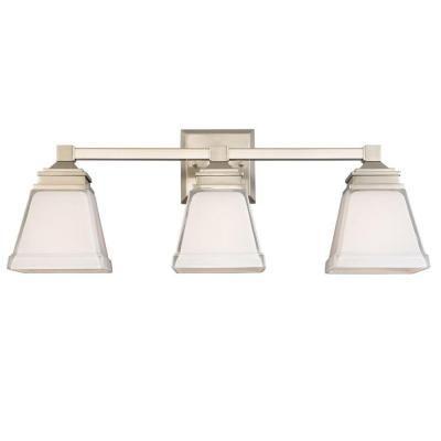 hampton bay landray 3 light brushed nickel vanity light. Black Bedroom Furniture Sets. Home Design Ideas