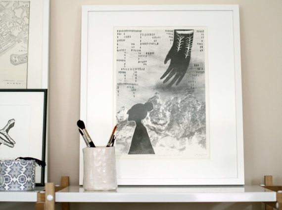 "This is a hand pulled original greyscale lithography art print on 300g Hahnemuhle paper.  Original artwork in finnish ""Totuus tuntemattomissa kuvissa"", translated ""Truth in unknown images"".   It is one piece of the limestone artwork. The print measures 41 x 28.8 cm ( ~16.1"" x 11.3"" )."
