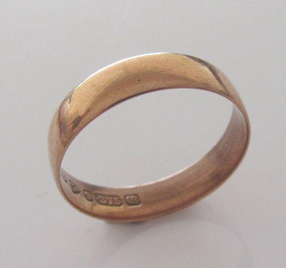9ct Rose Gold Wedding Ring Band Size P or by Britishgoldandsilver