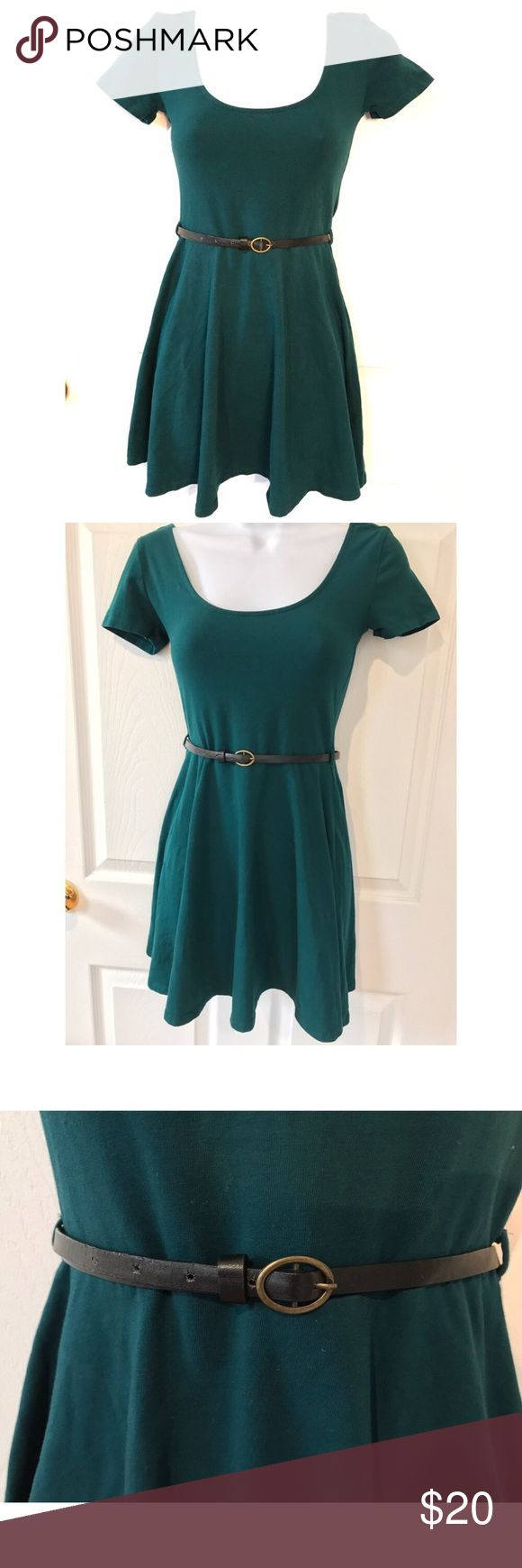 NWOT Forever 21 sundress Adorable green skater style sundress complete with a classic faux leather belt. Short sleeve and perfect for the warm weather. Throw on tights, leggings, over the knee socks, or a cute leather jacket on the cooler days to complete your look. Forever 21 Dresses