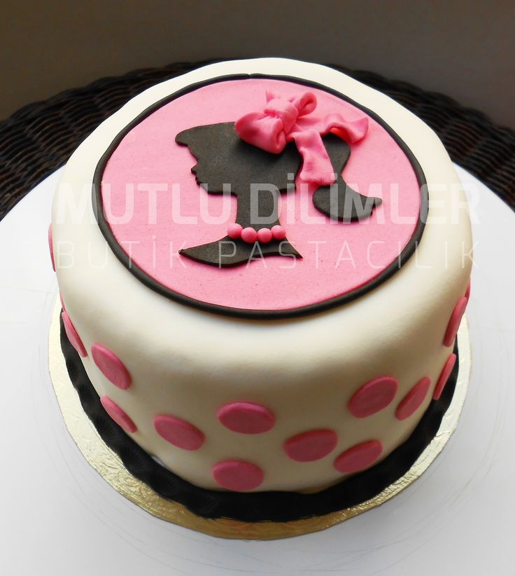 Barbie cake pink and black cake fondant pink cake pink ribbon