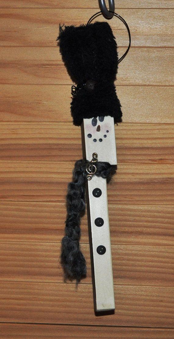 Recycled Piano Key Art | Piano Key Snowman Ornament
