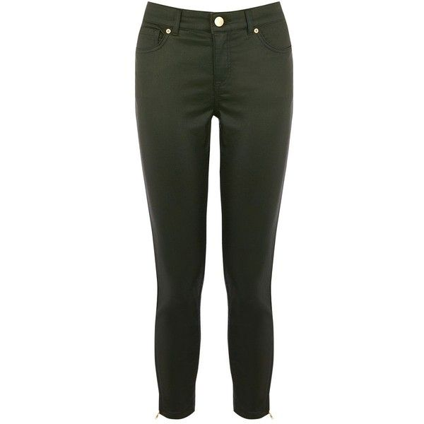 Oasis Dark Green Coated Isabella Jean ($62) ❤ liked on Polyvore featuring jeans, women trousers, dark green skinny jeans, skinny fit jeans, skinny jeans, skinny leg jeans and lined jeans