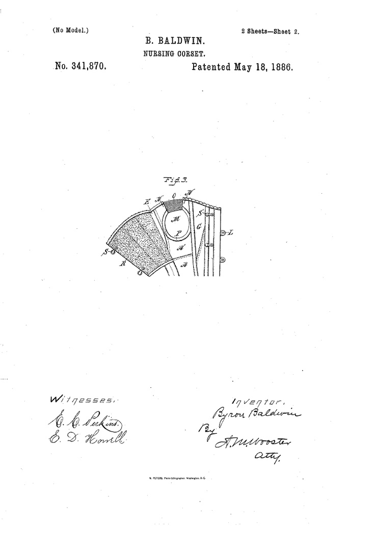 1886 Nursing corset  US patent 341,870  Fig 3 overbust