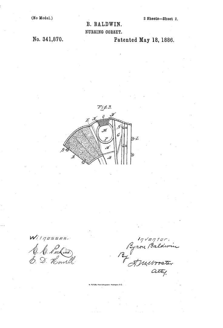 1886 Nursing corset  US patent 341,870  Fig 3 overbust