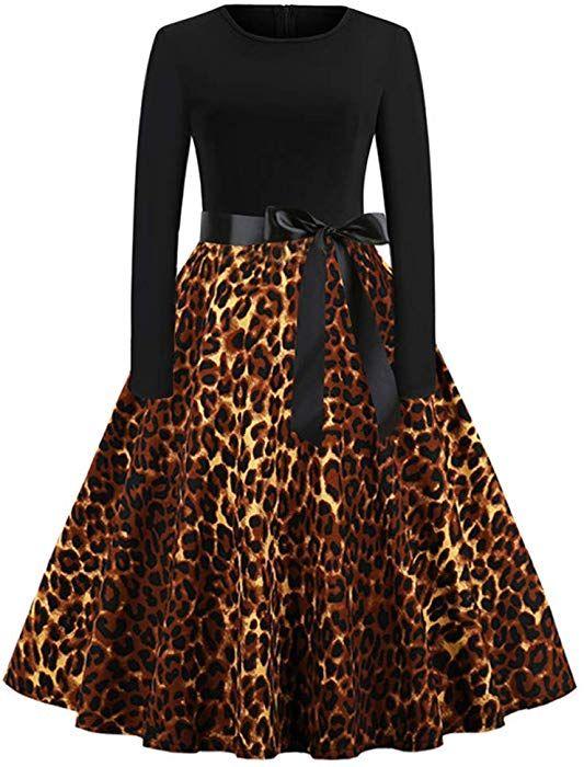 d7bde8983b4b Amazon.com  Ankola Halloween Dress Christmas Printing Vintage Women Dresses  Long Sleeve 1950s Vintage Party Gown Dress (M, Black-Leopard Print)   Clothing