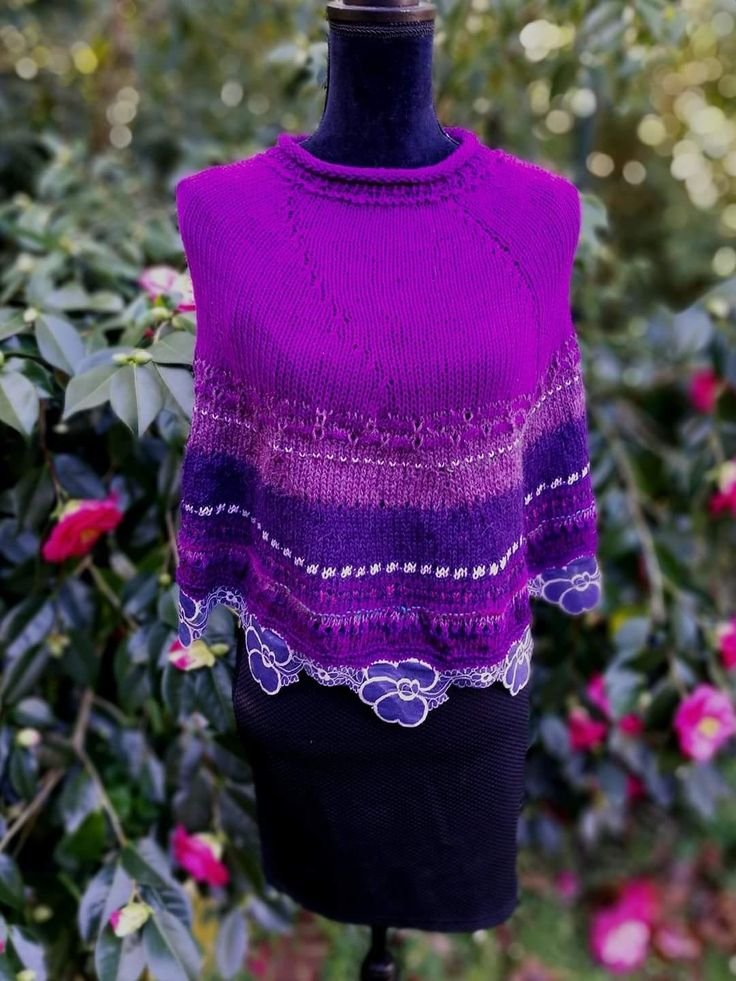 4 ply purpke flower trimmed capelet