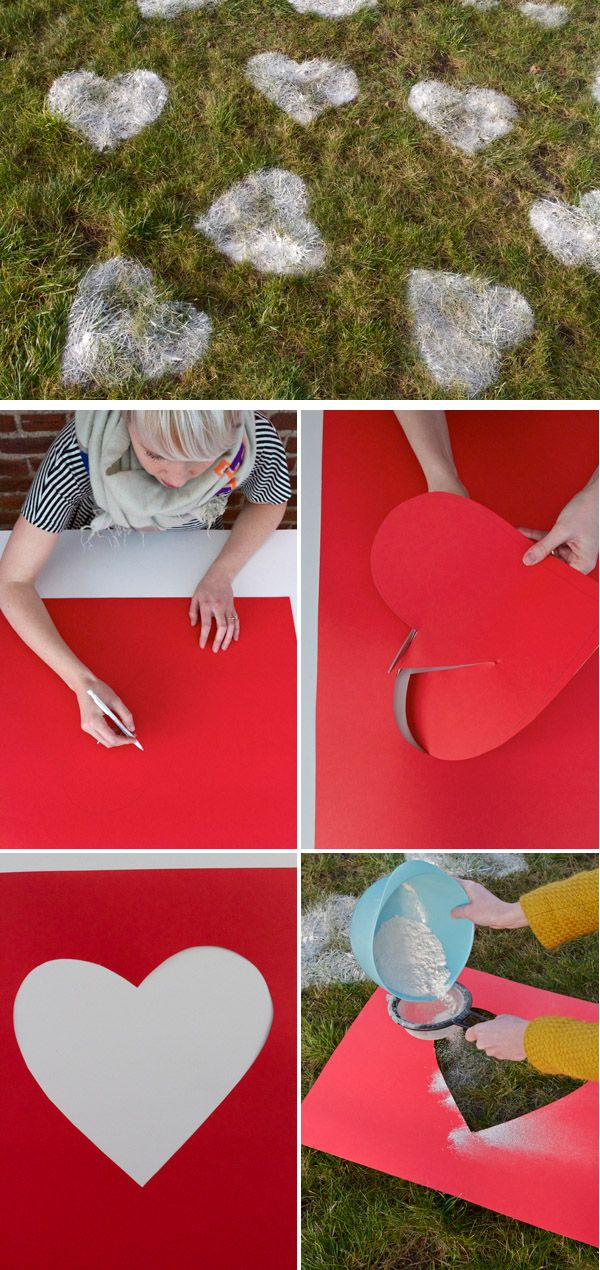 Valentine's day lawn hearts - so cute!  You could do this in the snow but use red chalk/spray paint instead -rm