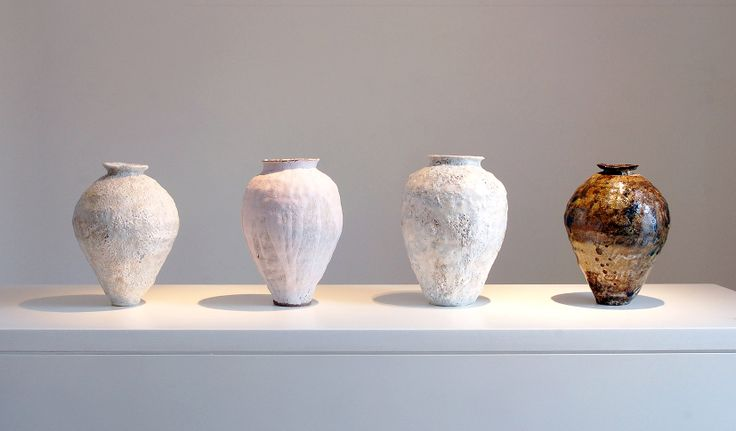 DRIFT/AZURE II/COMPOSURE IV/DRIFT II .  PORCELAIN AND TERRACOTTA PAPERCLAY WITH MIXED REACTIVE SLIPS AND STONEWARE AND EARTHENWARE GLAZES