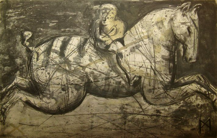 'Flux I' (2008) by South African artist Deborah Bell (b.1957). Drypoint, edition of 30, 55.1 x 72.7 cm. via Rose Korber Art