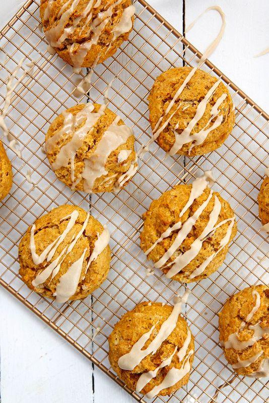 Pumpkin Pecan Scones with Brown Butter Glaze by joythebaker #Scones #Pumpkin #Pecan