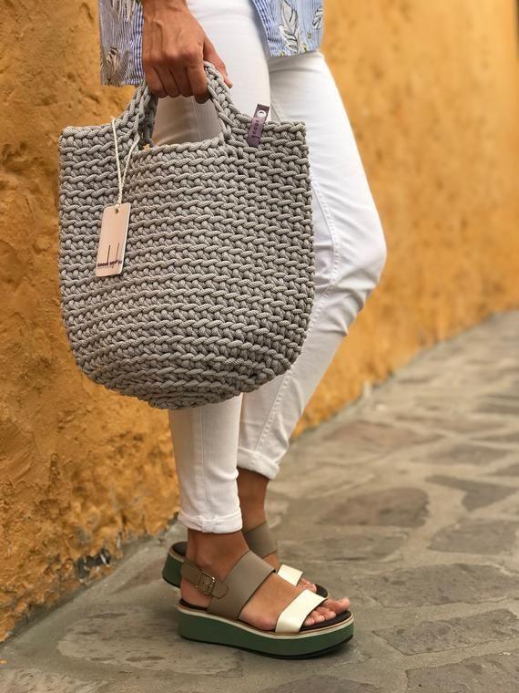 Tote Bag skandinavischen Stil häkeln Tasche handgemachte Tasche gestrickt Handtasche Geschenk für ihre Silber grau Haarfarbe