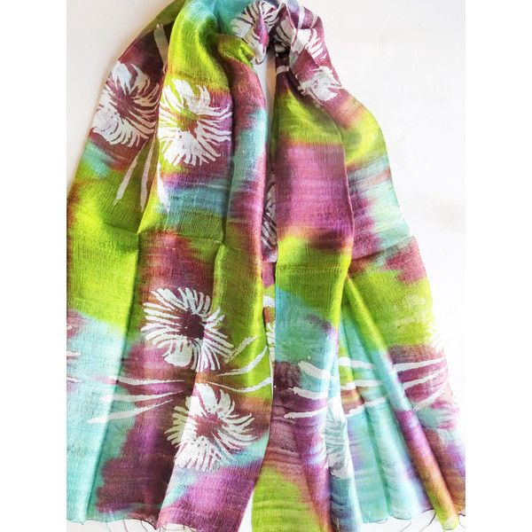 Colorful Silk Shawl Hand Dyed Handwoven Batik Handmade Wedding Gift Wedding Accessory Light Weight Silk Shawl Natural Pure Raw Silk For Her (€25) found on Polyvore featuring women's fashion, accessories, scarves, batik scarves, colorful shawl, silk shawl, pure silk scarves and multi colored scarves