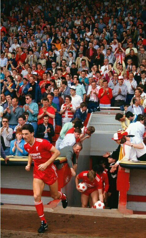Liverpool striker Ian Rush emerging from the Anfield tunnel for a game vs Everton in 1987.