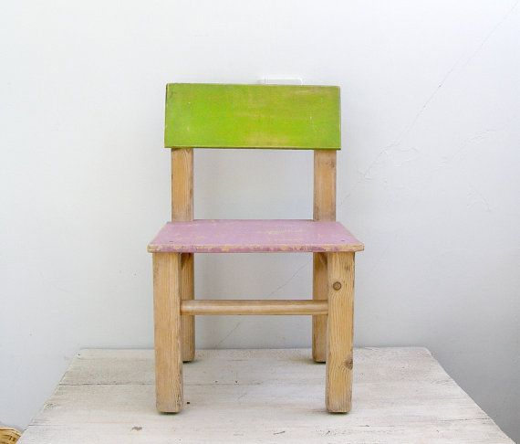 Rustic Kids Chair, Toddler green Purple Chair, Vintage Preschool wood Chair, Nursery room furniture, Mid century Shabby chic, Cottage chic