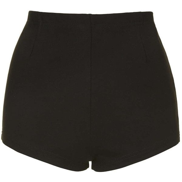 TOPSHOP Ponte High-Waisted Knicker Shorts (£7) ❤ liked on Polyvore featuring shorts, bottoms, short, pants, black, black shorts, black stretch shorts, high rise shorts, stretch shorts and high waisted shorts