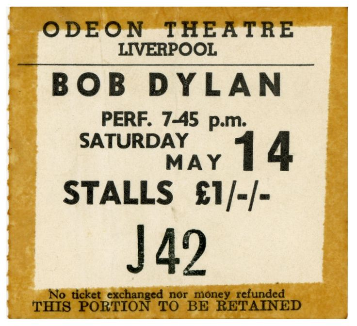Bob Dylan Liverpool Odeon Concert Ticket Stub May 1966