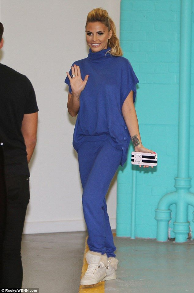 Blue babe:The 37-year-old changed into a low-key cobalt, blue two-piece tracksuit with hi...