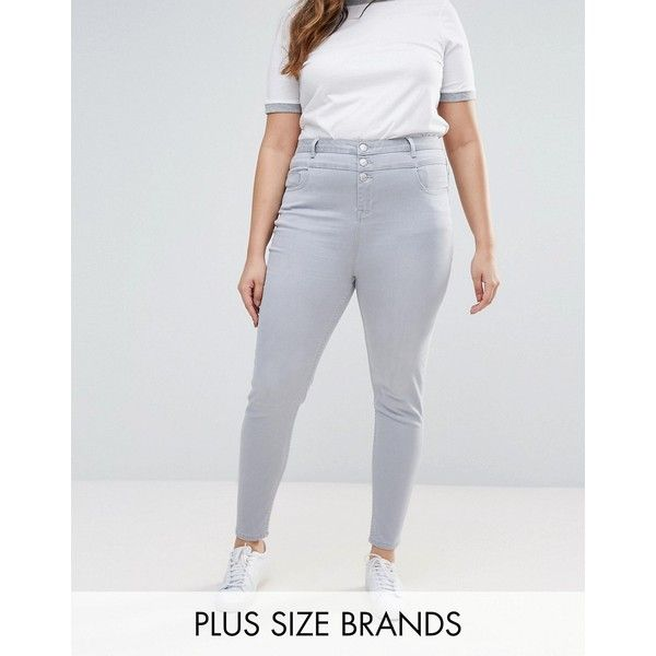 New Look Plus High Waist Skinny Jeans ($26) ❤ liked on Polyvore featuring plus size women's fashion, plus size clothing, plus size jeans, grey, plus size, high-waisted jeans, grey skinny jeans, plus size skinny jeans, super high rise skinny jeans and high rise skinny jeans