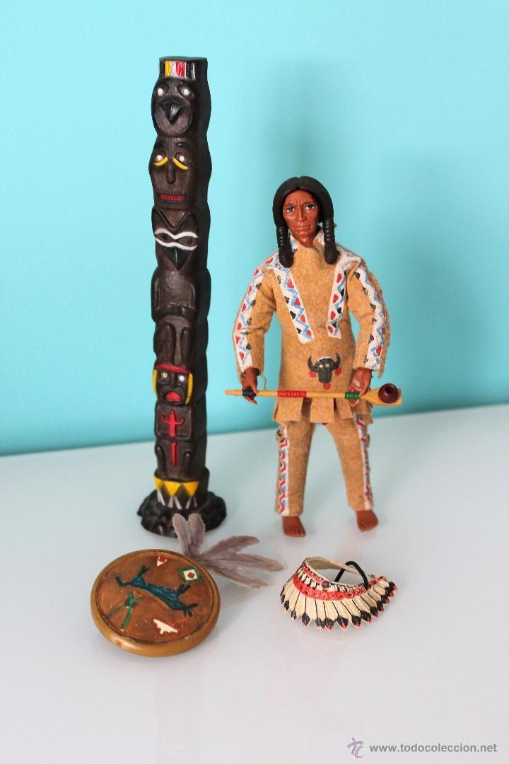 Madelman Jefe Indio - Original - Totem, escudo, pipa y penacho de plumas. (Juguetes - Figuras de Acción - Madelman)