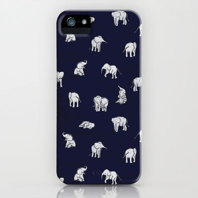 Indian Baby Elephants in Navy iPhone & iPod Case by Estelle F - $35.00