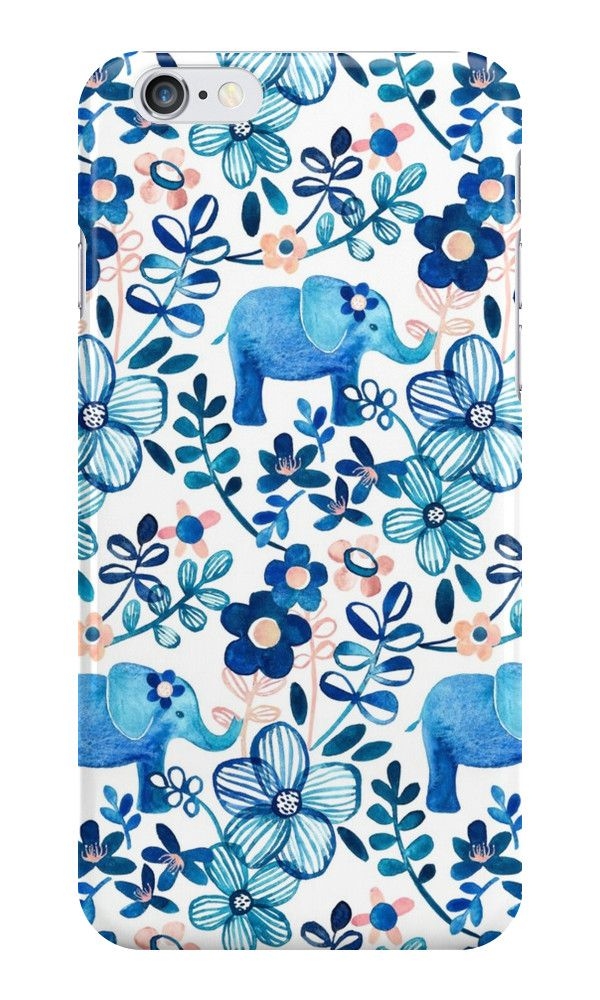 A hand painted watercolor pattern with little elephants, leaves and flowers. • Also buy this artwork on phone cases, apparel, kids clothes, and more - by Micklyn Le Feuvre