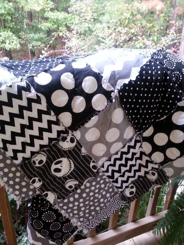 Jack Skellington rag quilt that I made :-)