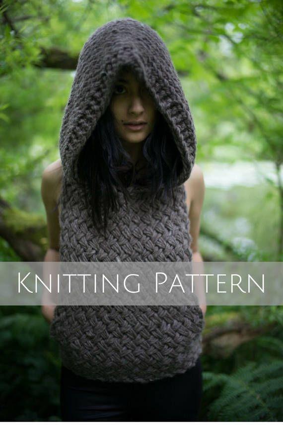 9ea05b591 Oversized Hoodie Vest Knitting Pattern - Handmade Clothing Women ...