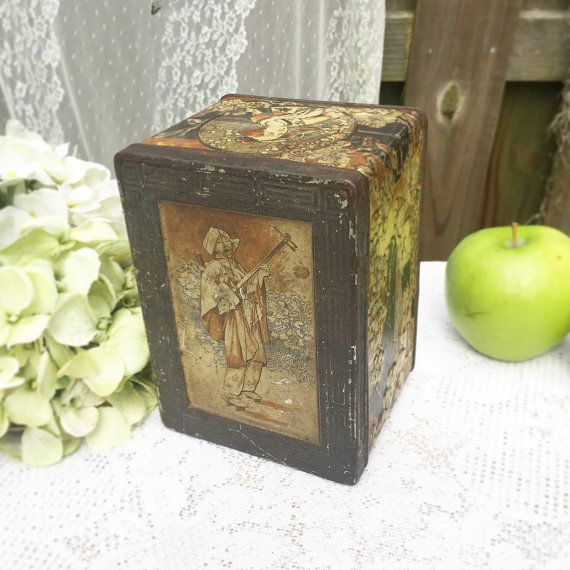Antique Decorative Asian Musician Tea Tin Box Floral Litho Canister kitchen storage spice geisha music flower by WonderCabinetArts
