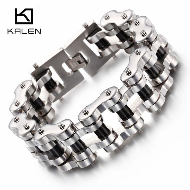 Kalen Cool Men Bike Bicycle Motorcycle Chain Men's Bracelets & Bangles Fashion 316L Stainless Steel Black Silicone Biker Jewelry