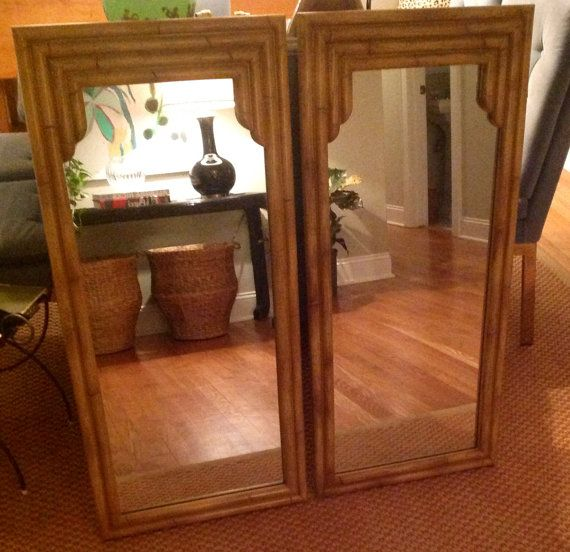 Pair Of Vintage Bamboo Mirrors By Eastandcoco On Etsy