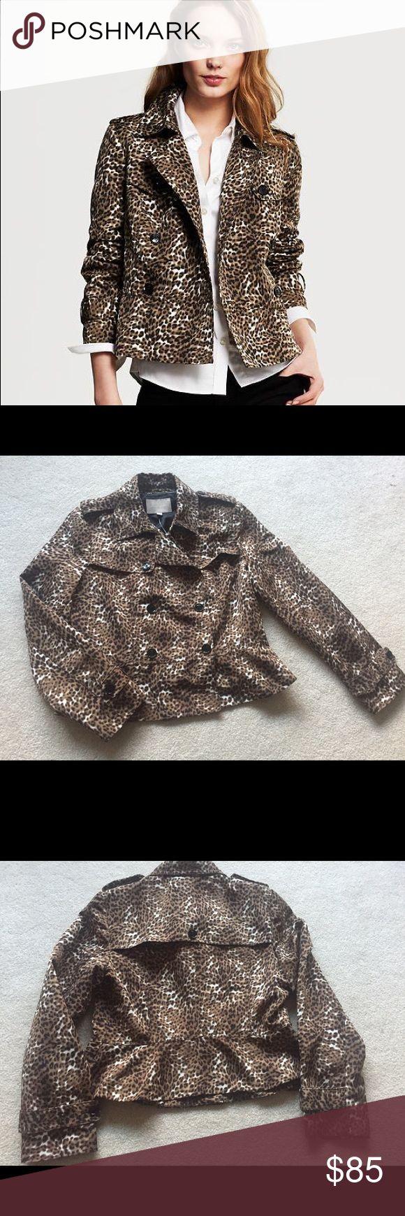Banana Republic Leopard Print Short Trench Coat New without tags - never worn! Beautiful coat! Banana Republic Jackets & Coats