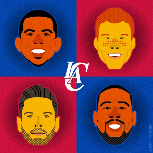 LA clippers illustration NBA. Chris Paul, Blake Griffin, J.J Redick, and DeAndre Jordan