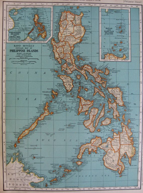 Antique PHILIPPINES Map of the Philippine Islands by plaindealing