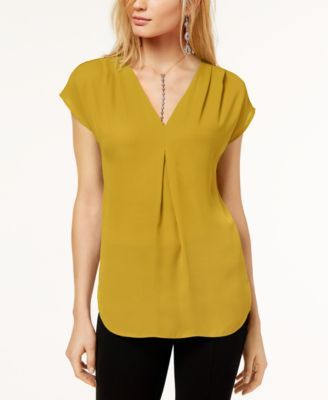 I N C Inverted Pleat V Neck Top Created For Macy S Travel