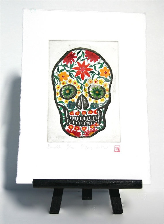 Skull  Original Etching by freshandsilly on Etsy, $35.00