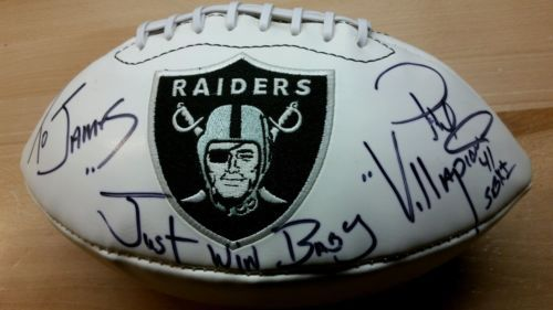 Phil Villapiano Raiders Signed Autographed Football  AUTO personalized to james