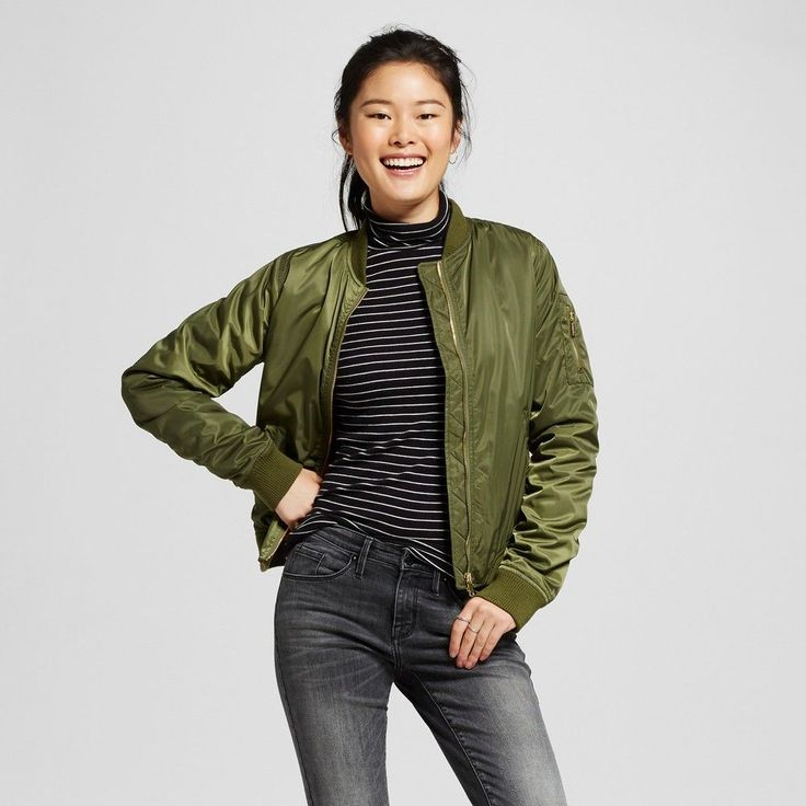 Women's Aviator Bomber Jacket Olive XL - Mossimo Supply Co., Olive Drab